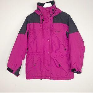 L.L. Bean Pink Puffer Zip Up Hooded Winter Jacket